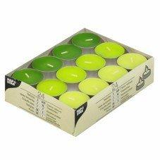 """24 Teelichte Ø 38 mm · 16 mm """"Kiwi, Kiwigrün, Maigrün"""""""