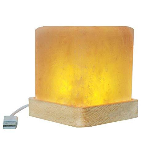 WSYYWD Lámpara de sal de cristal cuadrada Asiento LED base de madera luz de noche creativa lámpara de mesita de noche lámpara de mesa USB