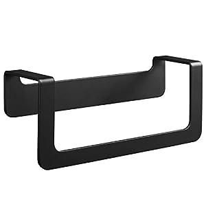 WEISSENSTEIN Toallero adhesivo baño negro | Portatoallas de pared acero inoxidable sin taladro | Toallero Negro adhesivo…