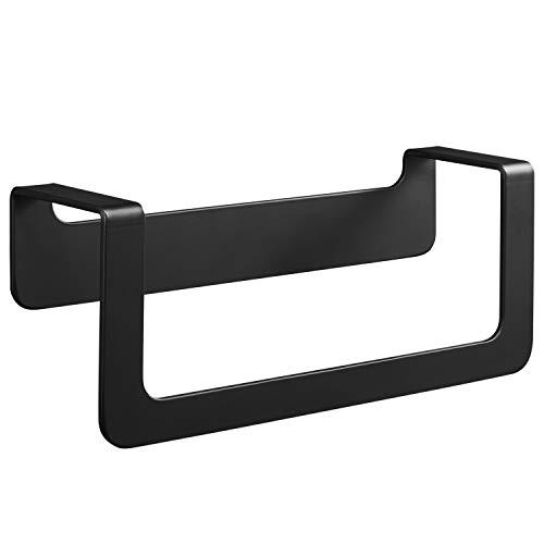 WEISSENSTEIN Toallero de baño adhesivo | Porta toallas de pared acero inoxidable sin taladro | Toallero Negro 22 x 7 x 10 cm