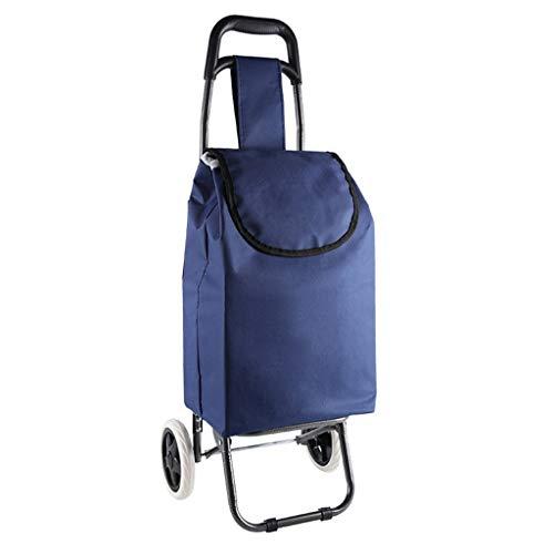 JHome-Einkaufstrolleys Einkaufslaufkatze-Leichtgewichtler Faltbarer Reise-Lebensmittelgeschäft-Wagen 2 Eva-Rad-Oxford-Stoff-Mobilitäts-Laufkatzen-Beutel-Warenkorb-Markt im Blau