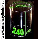 Ersatzglas Würstchenwärmer aus Polycarbonat (PMMA). H=240/ D=200mm, bruchsicher