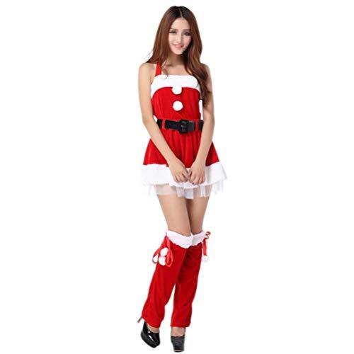 BESTOYARD Conjunto de Disfraz de Papa Noel para Mujer (Rojo) (Falda de  Navidad f8550a07ba2