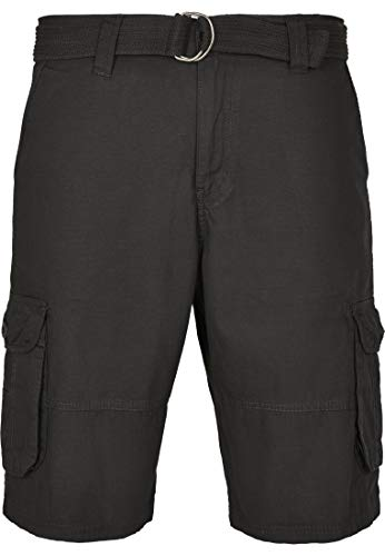 Southpole Herren Belted Ripstop Cargo Shorts, Black, 32 -
