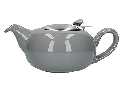 London Pottery Petite théière avec infuseur pour thé en Vrac Gris Clair Brillant 500 ML