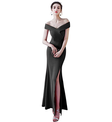 Aiyana Damen Elegant Burgund V-Ausschnitt Ärmellos Lang Abendkleid mit Schlitz
