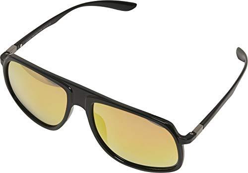 Urban Classics Unisex-Erwachsene 107 Chain Sunglasses Retro Sonnenbrille, Blk/Yellow, 55