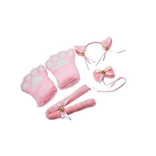 Lvcky Cat Cosplay Set Plüsch-Krallen-Handschuhe, Katzen-Ohren, Schwanzkragen, Pfotenabdrücke, niedliches Party-Kostüm, für Damen, Mädchen, ()