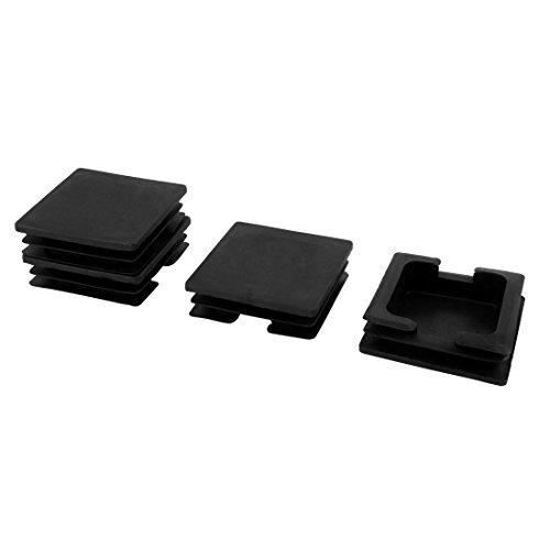 Sourcingmap® Chaise Jambe en Plastique Protecteur Tuyau Tube carré Pieds insérer Moraillon Noir 75mm x 75mm