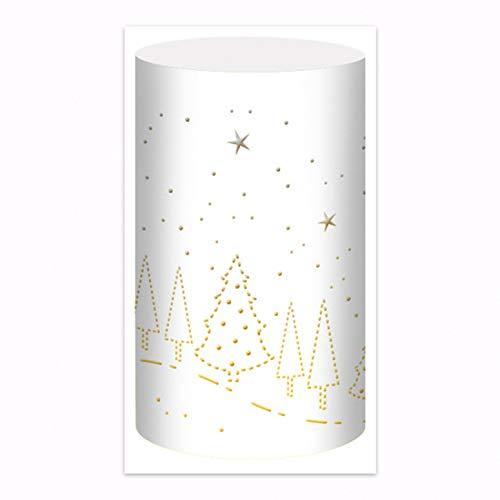Silhouetten-Tischlichter - Weihnachtsbaum - weiß - 5 Lichter mit Laserschnitt
