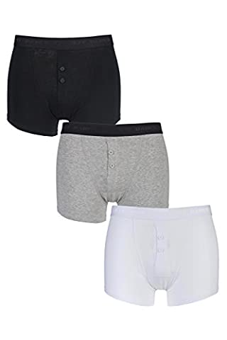 Jeff Banks Men's 3 Pack Marlow Buttoned Boxer Shorts Small Black / White / Grey