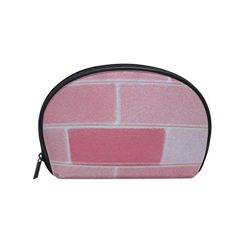 Women's Travel Pink Brick Wall Print Cosmetic Bags Portable Makeup Clutch Pouch Small Cosmetic Bag and Toiletries Organizer Bag - Wall Brick Graphics