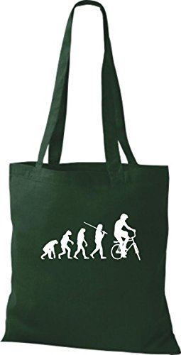 Shirtinstyle Borsa Di Stoffa Jute Evolution Moto Bike Biking Stunt Freebike Biker Colore Diverso Bottiglia Verde