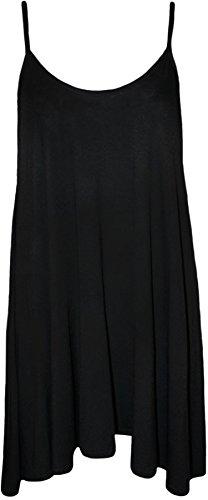 WearAll - Übergröße Damen Träger Ärmellos Swing Mini-Kleid Top - 6 Farben - Größen 44-54 Schwarz