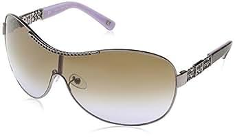 Escada Damen Visier Sonnenbrille, Gr. One Size, Bronze Gold & Brown Havana & Purple Detail Frame/Brown & Violet Gradient Lens