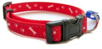"""Medium (Fits 12"""" to 20"""" Neck) Red Ancol Reflective Paw and Bone Dog Collar 693620 1"""