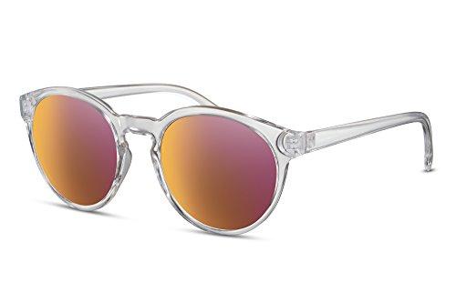 Cheapass Sonnenbrille Rund Verspiegelt Transparent Rot-Gold UV400 Durchsichtig Damen Herren tZ7zB0O