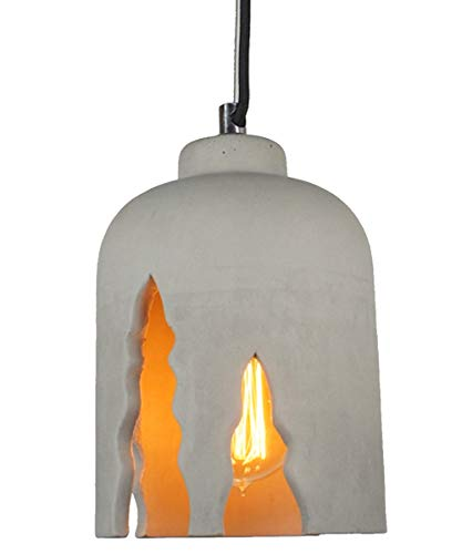 PureLume béton Lampe Crush Suspension Suspension avec Edison Ampoule vintage 40 W