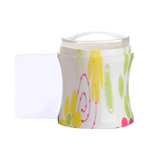 Sunlera 3.7cm Transparent Jelly Nail Art Stamper avec grattoir silicone tête Emboutissage fleur poignée 5 couleurs