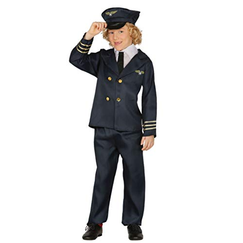 Pilot - Kostüm für Kinder Gr. 110 - 146, Größe:110/116 (Flugzeug Piloten Kostüm Kinder)
