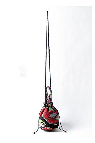 YuanDian Donna Nazionale Del Vento Retrò Stampa Mini Borsa Secchiello Spalla Mano Shopper Bucket Bag Con Tracolla Rosso