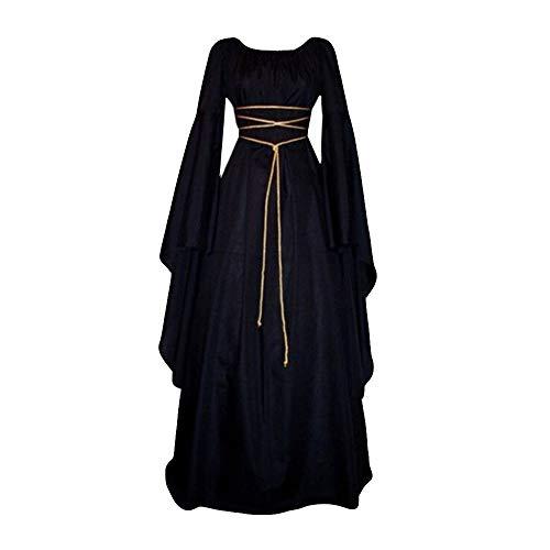 Damen Langarm Mittelalter Kleid Gothic Retro Kleid Renaissance Cosplay Kostüm Prinzessin Kleid Lange Abendkleid Gebunden Taille Maxikleid Übergröße Kleid Weihnachts Karneval Party (S, C-Schwarz)