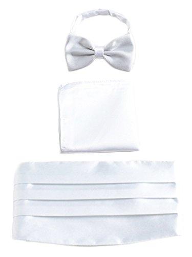 WANYING Herren Satin Kummerbund Fliege Einstecktuch 3 in 1 Set für Hochzeit Party Ball Banquet Smoking Gentleman - Einfarbig Weiß - Dinner-jacket Die Weiße Männer