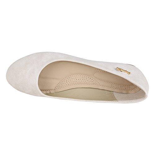 Klassische Damen Ballerinas Leder-Optik Flats Schuhe Übergrößen Flache Slipper Spitze Prints Strass Flandell Creme Camiri