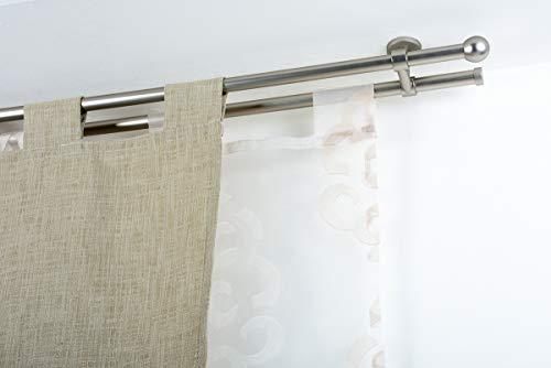 Incasa bastone doppio per tende Ø 20 mm senza anelli, l. 200 cm. in acciaio satinato – completo