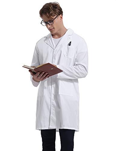Kittel Weiß Damen Herren Laborkittel 100% Baumwolle Arzt Kostüme Apotheker Mantel Reverkragen mit Taschen 7 Größe(XS-3XL) - 6