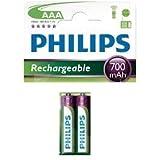 Philips Lot de 2 piles rechargeables AAA HR03 1,2 V 700 mAh