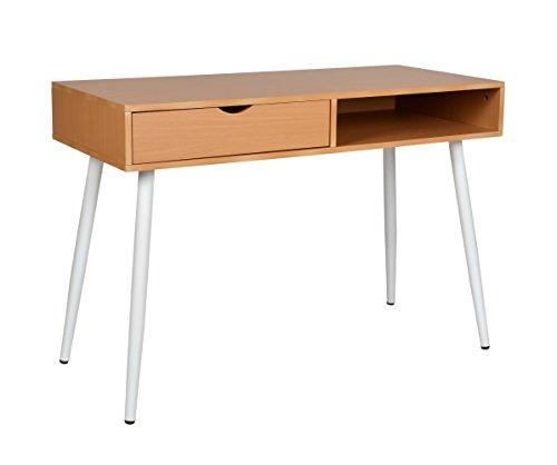 Schreibtisch Computer Arbeitstisch Konsole Tisch MDF Holzoptik und weiße Beine (Konsole Tisch 12)