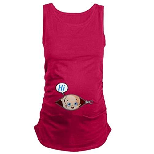 Femmes Enceinte Tops T-Shirt Gilet Blouse,sans Manches Mignonne Marrant Bébé Grande Taille Allaitement Maternité Grossesse Doux Chemisier Haut d'allaitement Tee-Shirt (XL, Rose Chaud)
