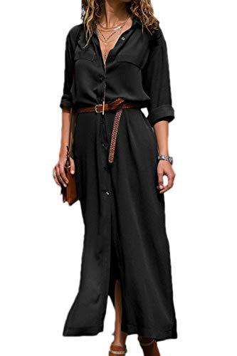 Mujer Vestidos Largos Casual Camiseros Manga Larga Botón Lateral De H