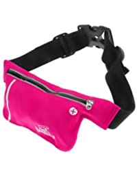 ELECTROPRIME Unisex Ultrathin Outdoor Running Waist Bag Sports Pockets Bag -Rose Red