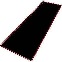 HKJhk 40x90cm épaisseur 3mm Grand Noir Pur Tapis de Souris Rouge précision Couture Couture Base en Caoutchouc Anti-dérapant Clavier Tapis de Table