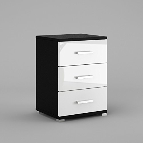 neli-n3-table-de-chevet-table-de-nuit-3-tiroirs-corps-noir-mat-le-front-blanc-haute-brillance