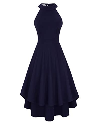 Clearlove Damen Abendkleid Ärmellos Cocktailkleid Neckholder Brautjungfernkleid Elegant Asymmetrisches Partykleid, Navy, S -