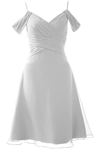 MACloth Elegant Off the Shoulder Short Bridesmaid Dress Wedding Party Formal Gown white