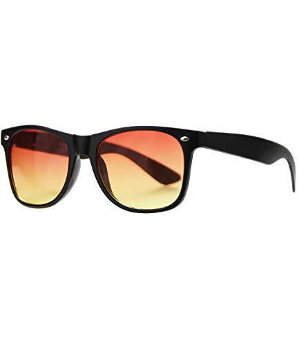 Caripe Retro Nerd Vintage Sonnenbrille verspiegelt Damen Herren 80er - SP (matt schwarz - rotgelb getönt-513)