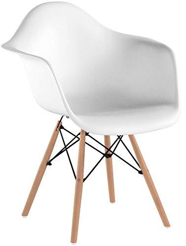 Ajie Retro - Stuhl, weiße Sitzschale mit Armlehnen auf massiven Holzbeinen, Verschiedene Stückmengen