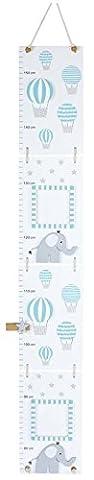 Toise en bois mat laqué éléphant pastel bleu clair
