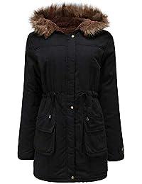 Manteau Femmes Hiver Grande Taille Chaud Long Veste à Capuche Fluff, QinMM  Slim Épais Chic ae010dd9e119