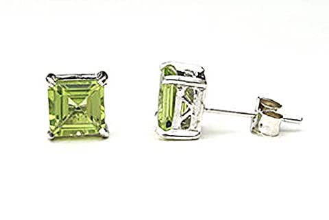 9ct White Gold Peridot Square Stud earrings