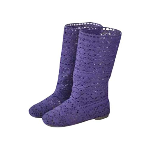 Mxssi Damen Stiefel für Kleid Schuhe Spitze Hohlstiefel Crochet Aushöhlen Chunky Flache Fersen Knie Leichte Stiefel Weiß Schwarz -