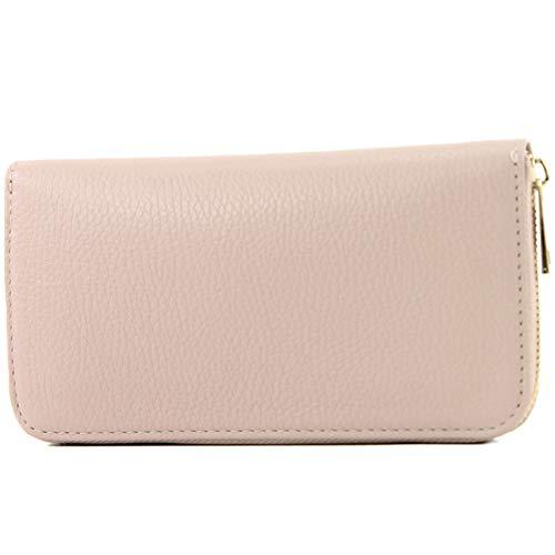 modamoda de - P02 - ital. Damen Portemonnaie Echtleder lang, Farbe:P02 Rosabeige