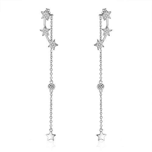 Stern Ohrringe Sterling Silber Sterne Vorderseite Rückseite Beitrag Ohrringe Zirkonia Tropfen Ohrringe für Damen Mädchen (Sterne Ohrringe)