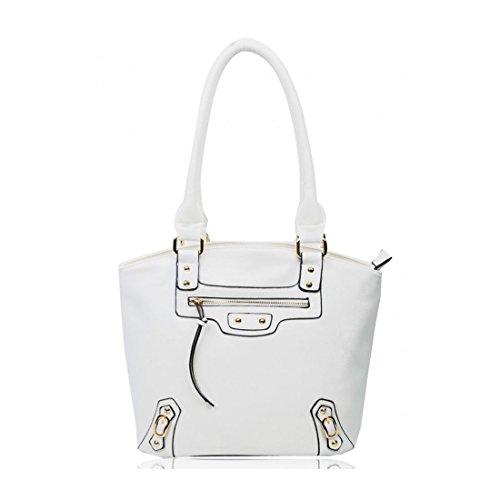 c78b2300ddc17 LeahWard Große Schultertaschen Für Frauen Damen weiche Taschen Handtaschen  für die Schule CW14119 Zitrone Schultertasche Weiß