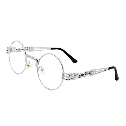 AMZTM Retro Steampunk Verspiegelt Sonnenbrille Klassischer Kreis Hippie Brille für Damen Herren Polarisierte Linse Runder Metallrahmen UV400 Schutz Alte Mode Brille (Silber Rahmen klar Linse, 49)