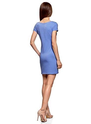 oodji Ultra Damen Enges Jersey-Kleid Blau (7502N)